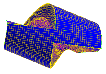 Meshing of a section of tube for the calculation of pressure losses in a spirally welded tube