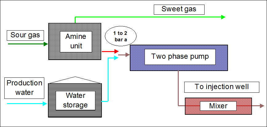 Injection of acid gases and water using two phase flow pumping allowing some gas solubility in water during two phase compression