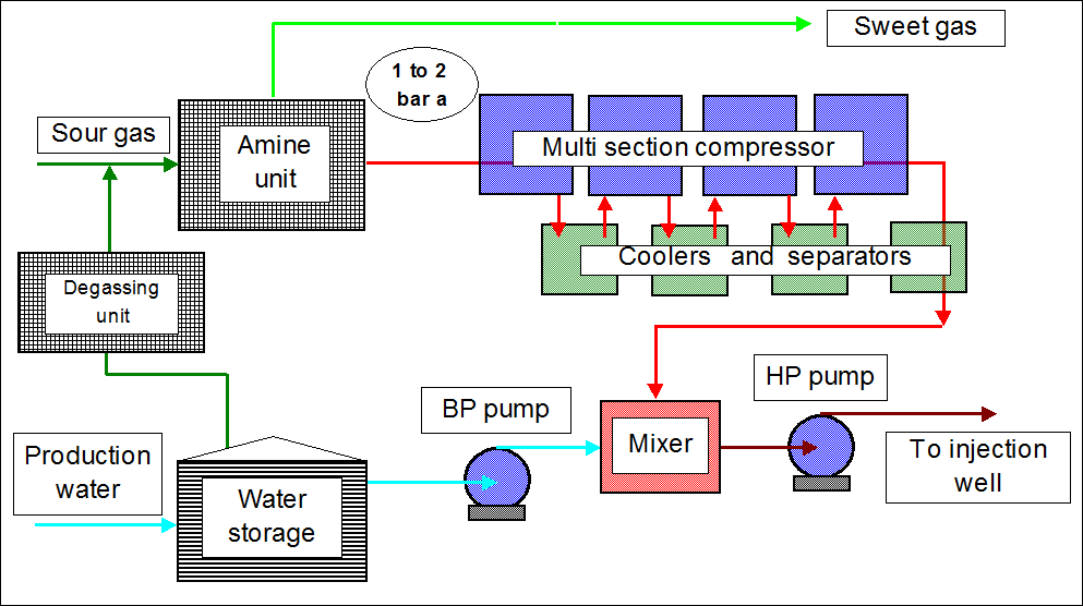 Injection of water and acid gases, mainly CO2 and H2S, in aquifers using separate pumping and compression devices and with water - gas mixer upstream the injection well