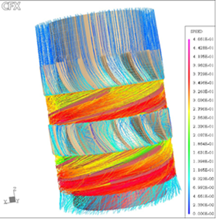 CFD flow simulation of a two stage two phase flow turbine. Hydraulics of the helico axial type. First generation