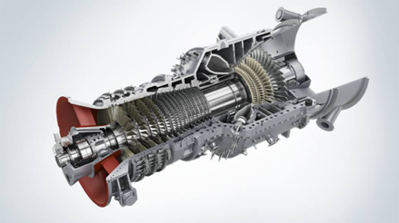 Cross section of a heavy duty gas-turbine with compressor-section at left end and expansion-section at right end