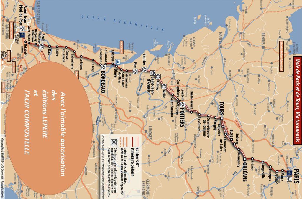 Carte ACIR - Voie de Compostelle - Voie de Tours également appelée Via Turonensis en provenance de Paris, plus au nord de Bruxelles et encore plus au nord des pays scandinaves