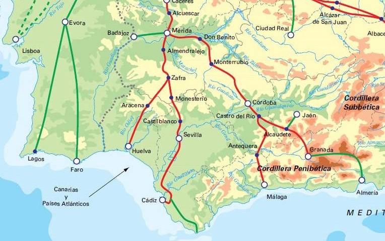 Voie de Compostelle - La Via Mozarabe relie Malaga et Granada (Almeria) à Mérida située  sur la Via de la Plata après avoir traversé Cordoba.