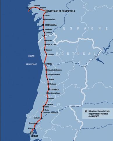 Voie de Compostelle - La Via Lusitana relie Lisboa à Santiago passant par Coimbra, Porto et Pontevedra. Elle suit le Tage jusqu'à Santarem.