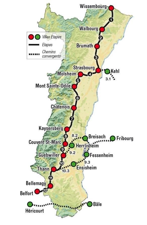 Voie de Compostelle - La voie alsacienne relie Wissembourg (Allemagne) à Belfort passant par Strasbourg, Sélestat (nord de Colmar), Kaysersberg et Thann