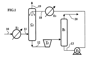 Gas treatment with a physical solvent and a single two-phase flow turbine - Treatment carried out in a single step (no distillation)
