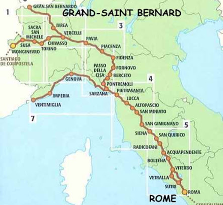 La Via Francigena relie l'Angleterre (Canterbury) à Rome mais aussi Jérusalem. Elle est aussi pratiquée, en sens inverse, pour rejoindre la voie d'Arles (Compostelle)
