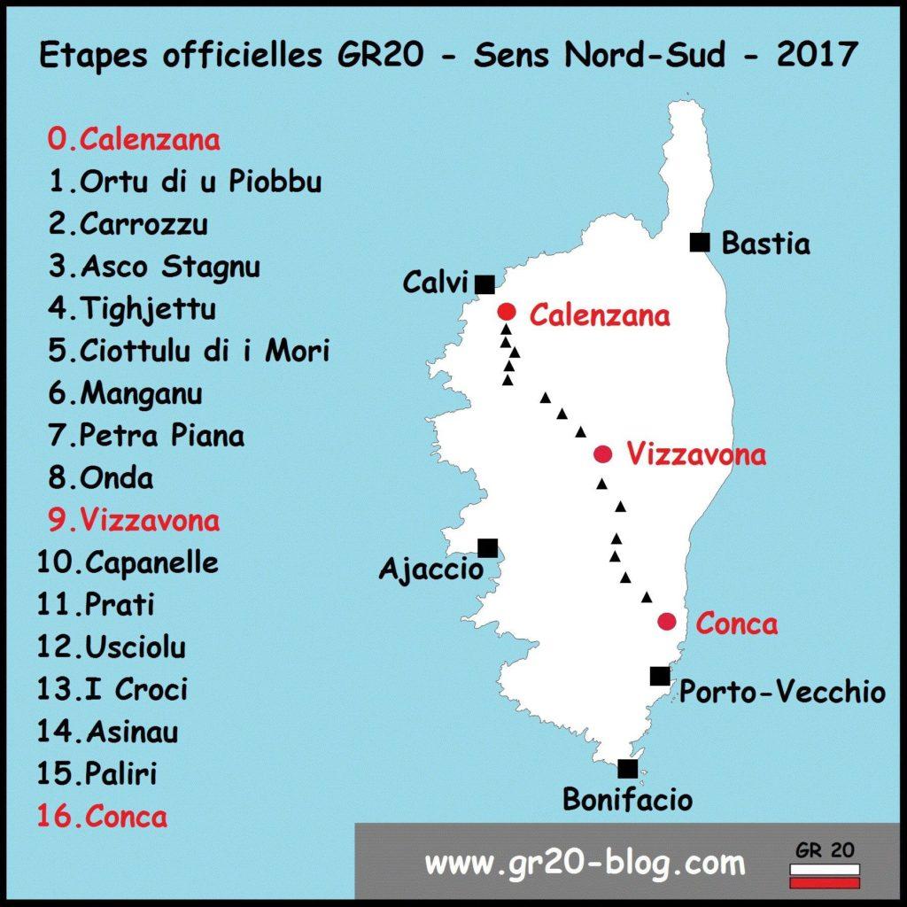 GR20 enCorse reliant Calenzana (Calvi) au nord-ouest à Conca au sud-est (Porto-Vecchio). Au milieu Vizzavona, un petit village traversé par une voie ferrée reliant Bastia à Ajaccio