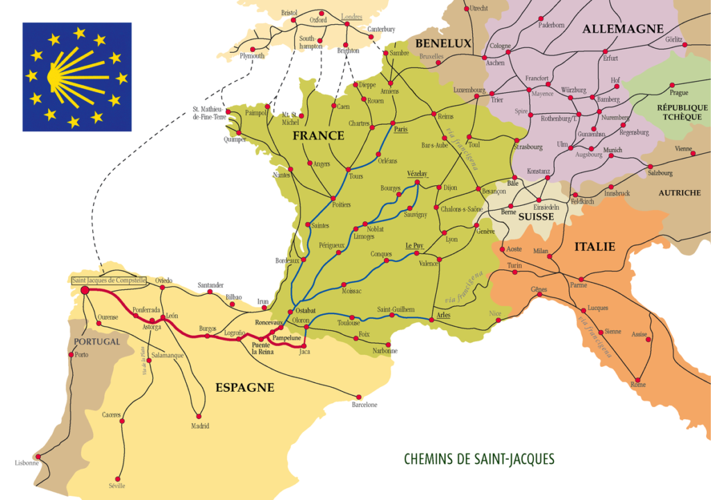 Carte Europe - St Jacques