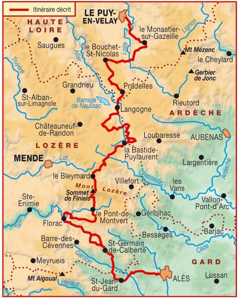 Chemin de Stevenson du Puy-en-Velay à Alès. Monastier Gazeille, Bouchet St Nicolas, Pradelles, Bastide Puy Laurent, Mont-Lozère, Finniels, Florac, St Jean du Gard, Alès