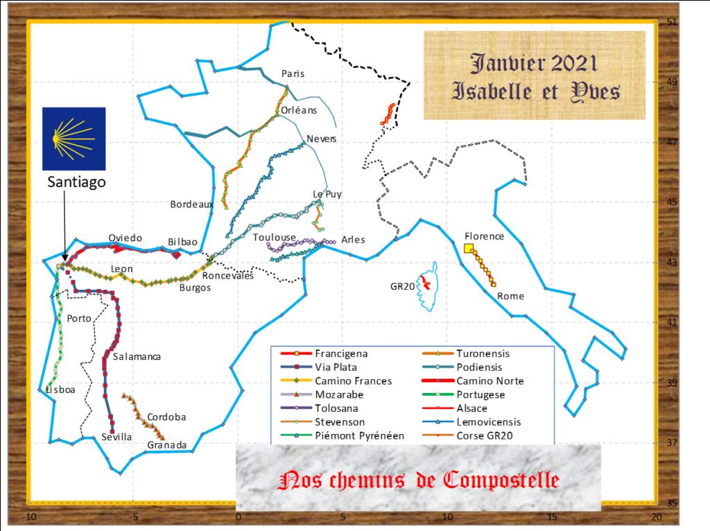 Chemins parcourus par Yves et Isabelle - Janvier 2021