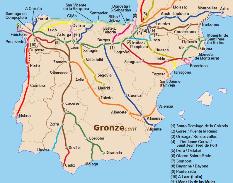 Principales voies en Espagne