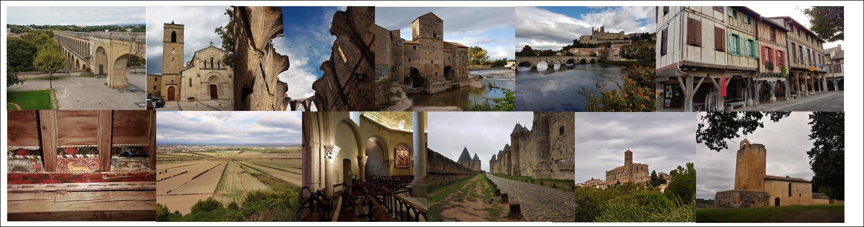 Montpellier, Fabregues, abbaye Félix de Monceau, St Thibéry, Béziers, Mirepoix, Capestang, Rieux Minervois, Carcassonne, Montréal, Vals (église rupestre).