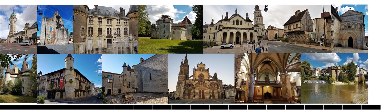Gare de Limoges, Châlus, Thiviers, château de Caussade, Périgueux (cathédrale, l'Eschif), abbaye de Chancelade, château de Puyferrad, Ste Foy la Grande, abbaye de Ste Ferme, Bazas, Roquefort en Marsan, Mont de Marsan.