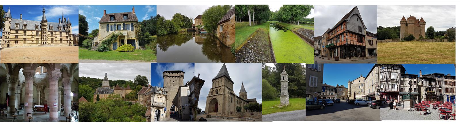 Nevers, Apremont sur Allier, Moulin Gateau, St Amand de Montrond, La Châtre, Neuvy St Sépulcre, Gargilesse, La Souterraine, Bénévent l'Abbaye, Lanterne des morts, St Léonard de Noblat, Limoges