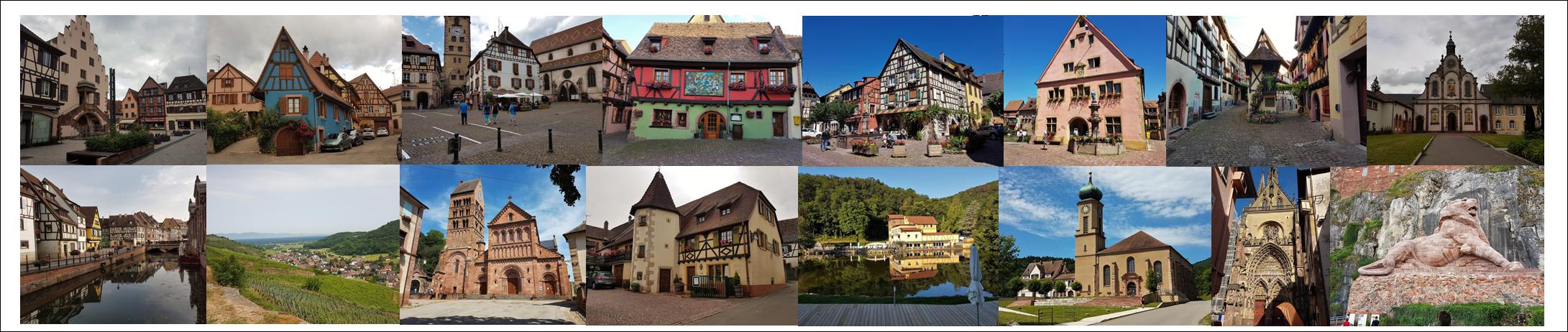 Sélestat, St Hypolite, Ribeauvillé, Riquewhir, Kaysersberg, Turckeim, Colmar, Eguisheim, Guebwiller, Wattwiller, Than, Bellemagny, Belfort.