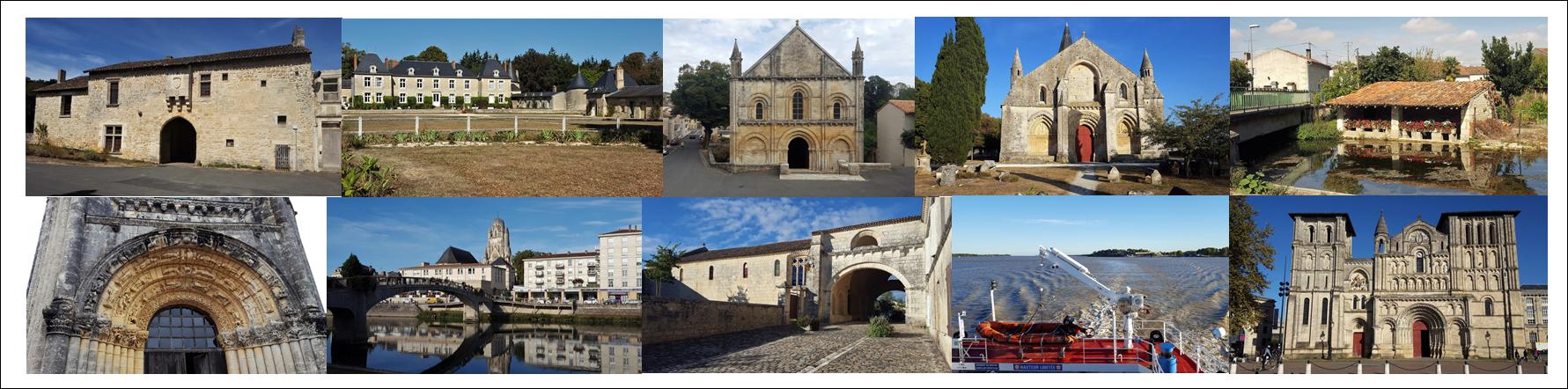 Fontaine le Compte, Coulombiers, Melle, Aulnay en Saintonge, Brioux sur Boutonne, St Jean d'Angely, Saintes, Pons, la Gironde à Blaye et Bordeaux