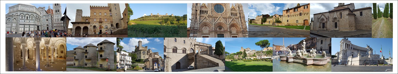 Florence, San Gimignano, Montereggioni, Sienne, Buenconvento, San Quirico d'Orcia, San Salvatore, Acquapendente, Bolsena, Viterbo, Sutri, Rome
