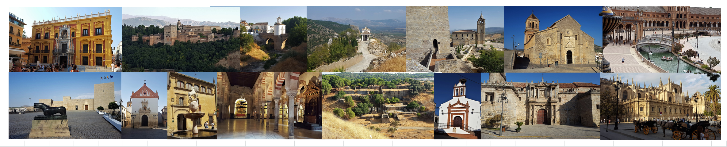 Malaga, Granada, Pinos Puente, Moclin, Alcala la Real, Alcaudete, Baena, Castro del Rio, Cordoba, Cerro Muriano, Hinojosa del Duque, Sevilla